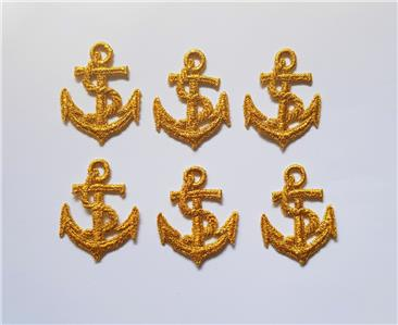 Patch EB3 10 Embroidered Blue Boat Anchor Applique