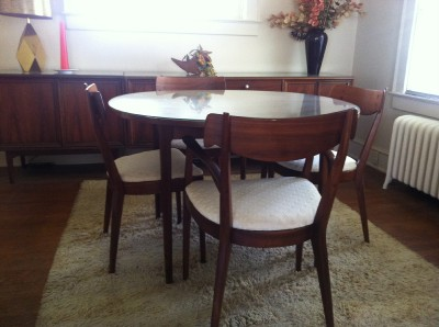 Mid Century Drexel Declaration Walnut Round Dining Table 2