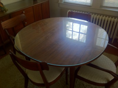 Mid Century Drexel Declaration Walnut Round Dining Table 2