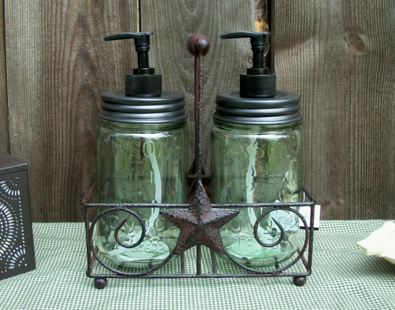 Vtg Style Pint Mason Jar Soap Lotion Dispenser S Amp Caddy