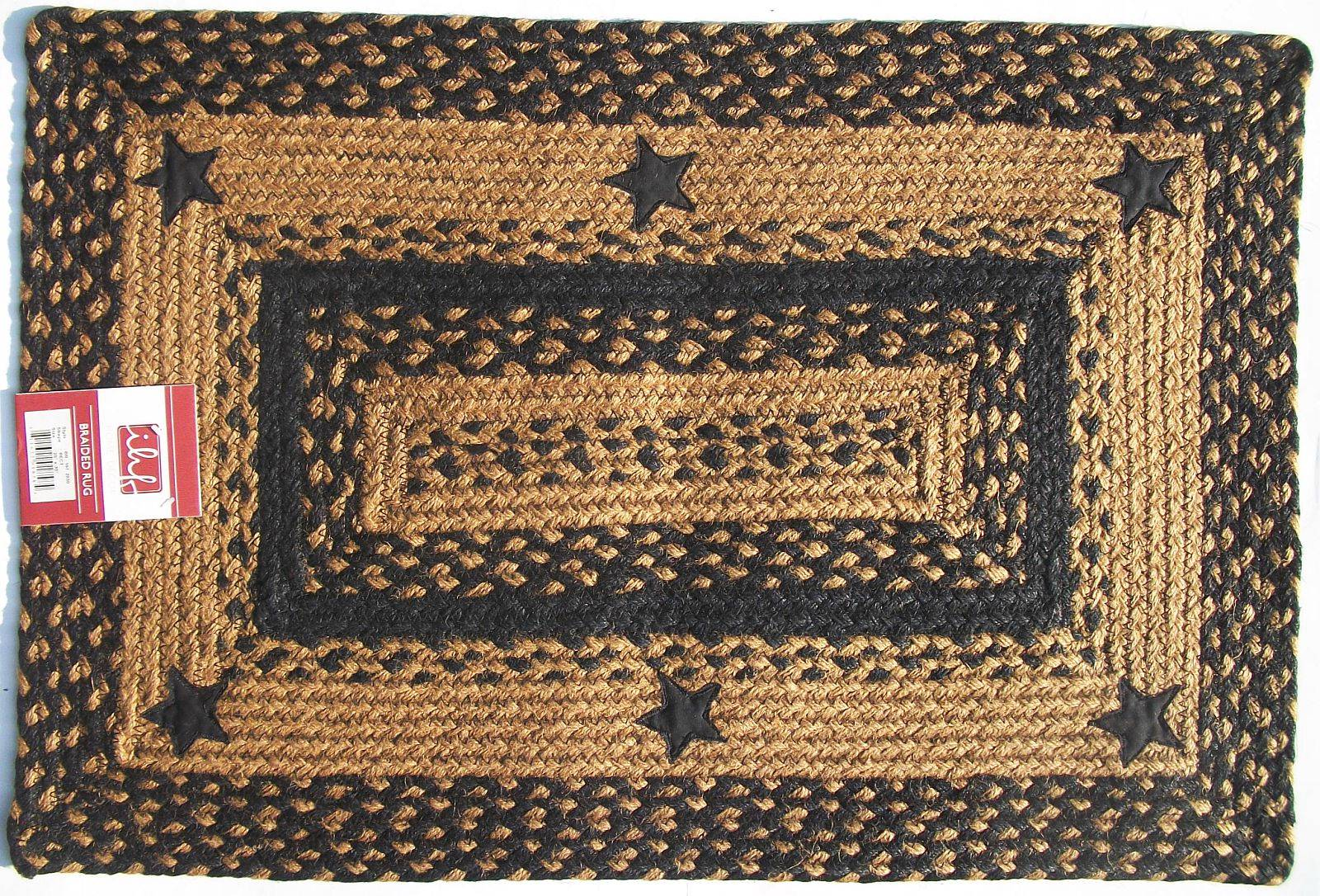 Ihf Applique Star Black Tan Braided Jute Rug Rustic