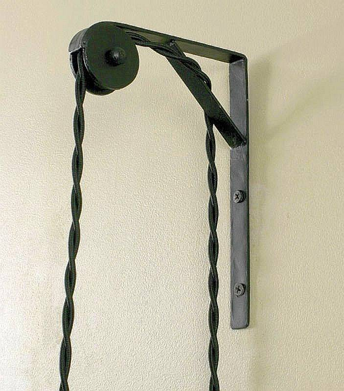Hanging Wall Lamp: Vtg Industrial Look Wall Mount Bracket Pulley For Sconce