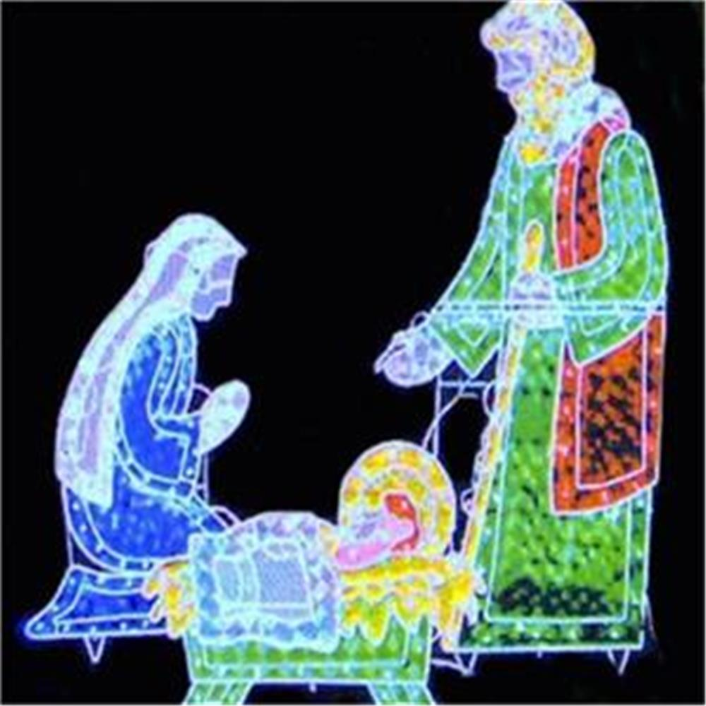 3 PC. HOLOGRAPHIC LIGHTED CHRISTMAS OUTDOOR NATIVITY SCENE