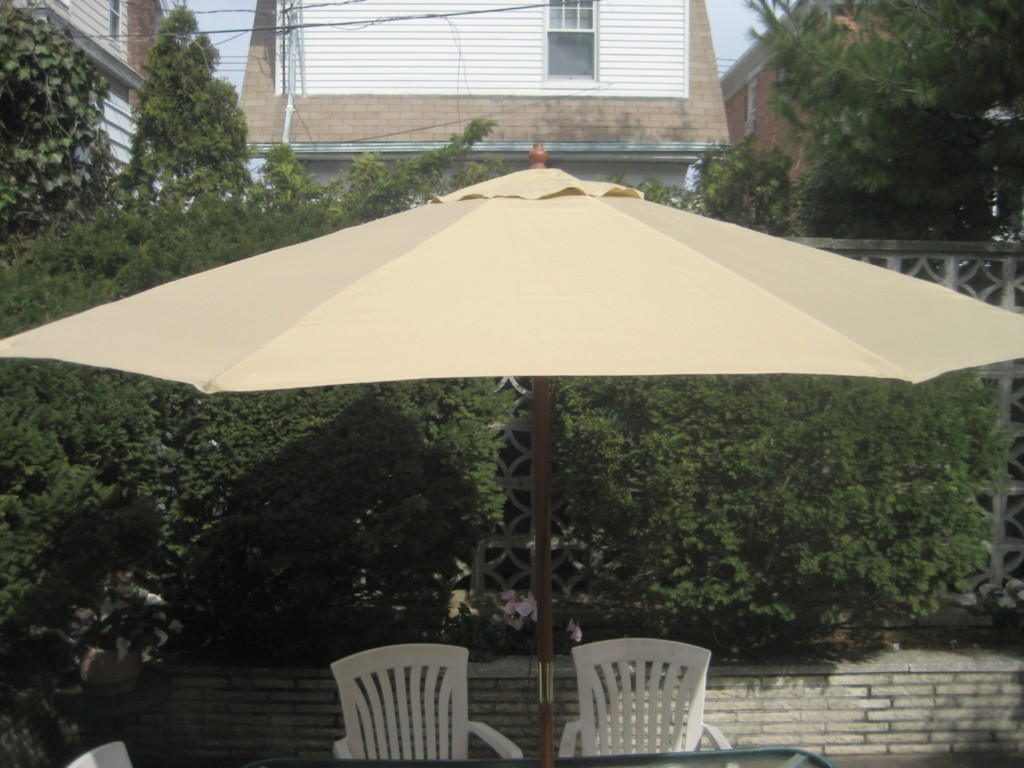 9 Ft Market Patio Umbrella Black And Tan Stripe New Ebay