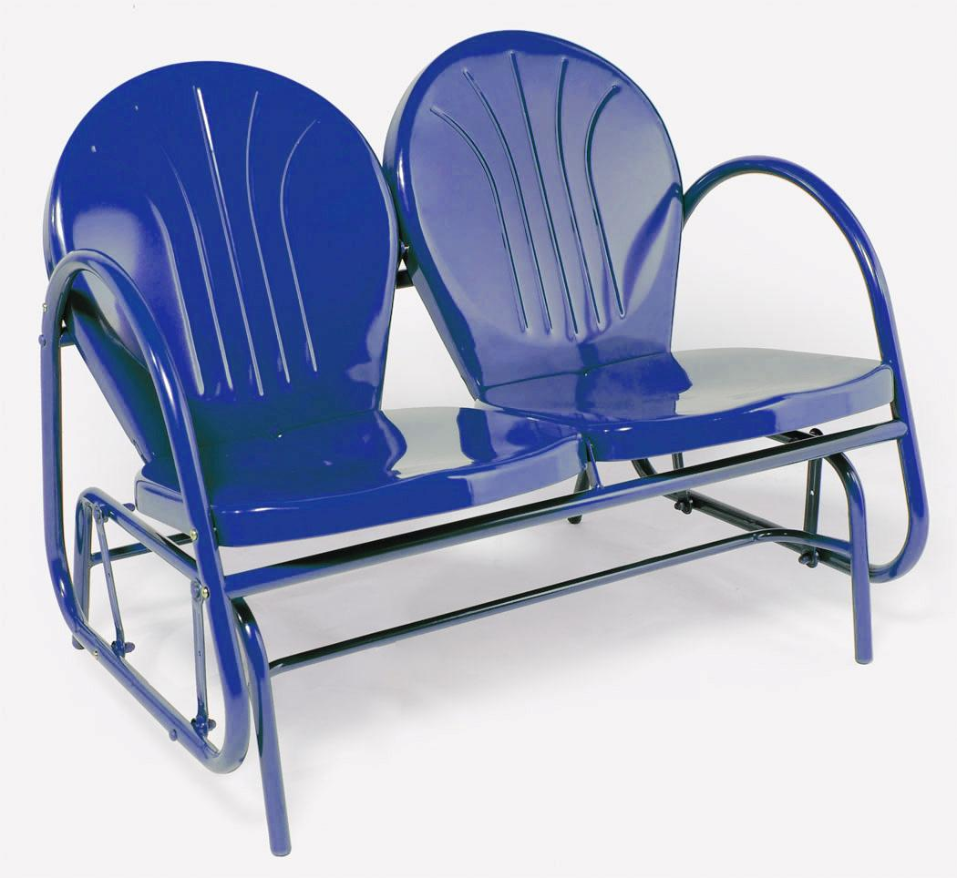 RETRO METAL DOUBLE GLIDER OUTDOOR LAWN PATIO CHAIR BLUE