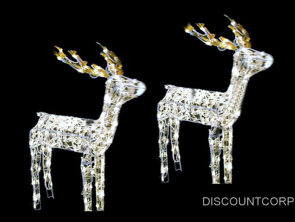 set of 2 48 animated lighted glistening deer outdoor christmas decoration new ebay. Black Bedroom Furniture Sets. Home Design Ideas