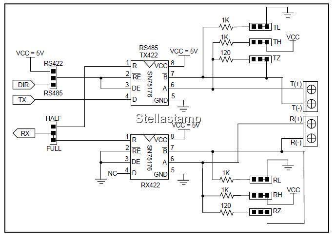 Inboard Uart Ttl To Rs422 Rs485 Line Driver Sn75176b