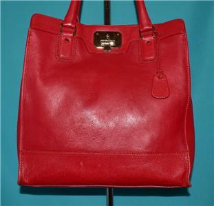 1060083508 tp - COLE HAAN VINTAGE VALISE II Red Leather Shoulder Tote Shopper N/S Work Bag Purse