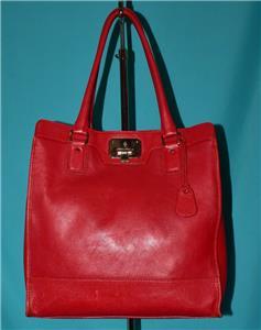 1060083510 tp - COLE HAAN VINTAGE VALISE II Red Leather Shoulder Tote Shopper N/S Work Bag Purse