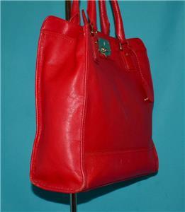 1060083513 tp - COLE HAAN VINTAGE VALISE II Red Leather Shoulder Tote Shopper N/S Work Bag Purse