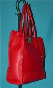 1060083515 tp - COLE HAAN VINTAGE VALISE II Red Leather Shoulder Tote Shopper N/S Work Bag Purse