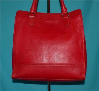 1060083517 tp - COLE HAAN VINTAGE VALISE II Red Leather Shoulder Tote Shopper N/S Work Bag Purse