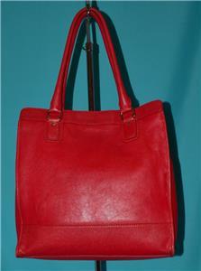 1060083520 tp - COLE HAAN VINTAGE VALISE II Red Leather Shoulder Tote Shopper N/S Work Bag Purse