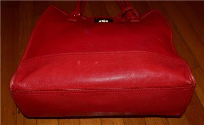1060083524 tp - COLE HAAN VINTAGE VALISE II Red Leather Shoulder Tote Shopper N/S Work Bag Purse