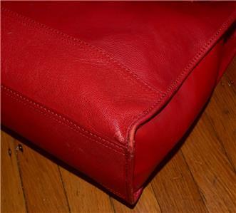 1060083527 tp - COLE HAAN VINTAGE VALISE II Red Leather Shoulder Tote Shopper N/S Work Bag Purse