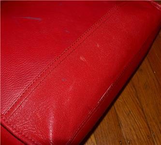 1060083530 tp - COLE HAAN VINTAGE VALISE II Red Leather Shoulder Tote Shopper N/S Work Bag Purse