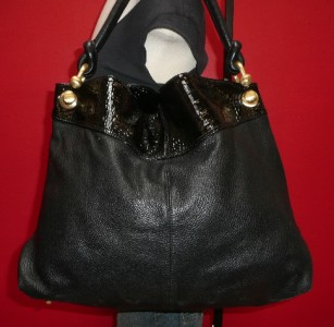 BCBG Maxazria LARGE Black Leather Hobo Slouch Shoulder Purse Bag Boho