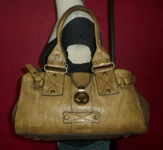 Francesco Biasia Large Olive Green Leather Satchel Hobo Tote Shoulder
