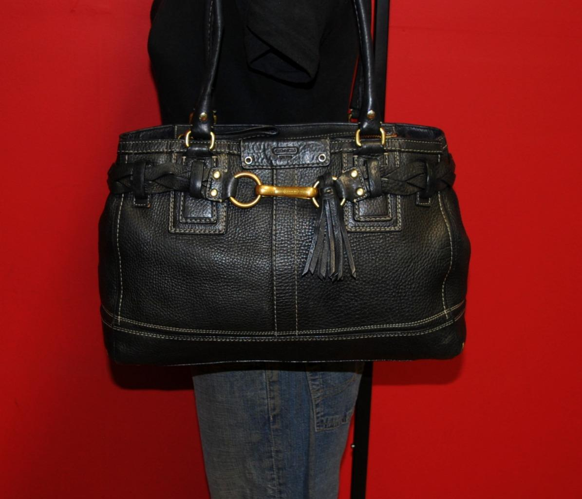 COACH Black Pebbled Leather HAMPTONS Satchel Tote Shoulder ...