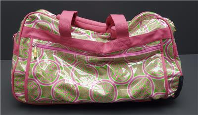 c3f813949ad1 Toss Design Balboa Medallion Pink Green Nylon Vinyl Shoulder Rolling Duffel