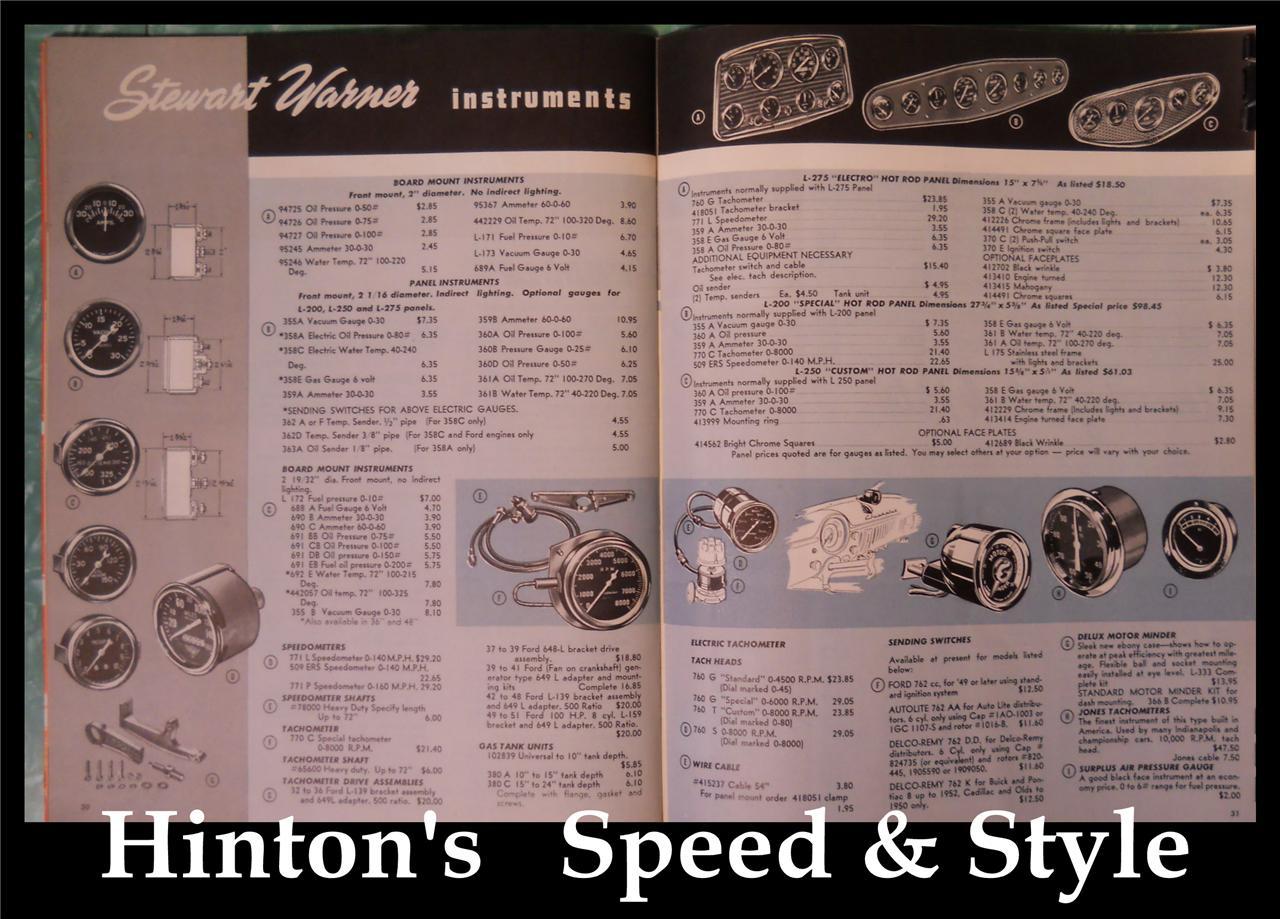 Vtg Stewart Warner 4500 Tach Gauge Curved Glass 50s Hot Rod 6 Volt 29 32 Ford