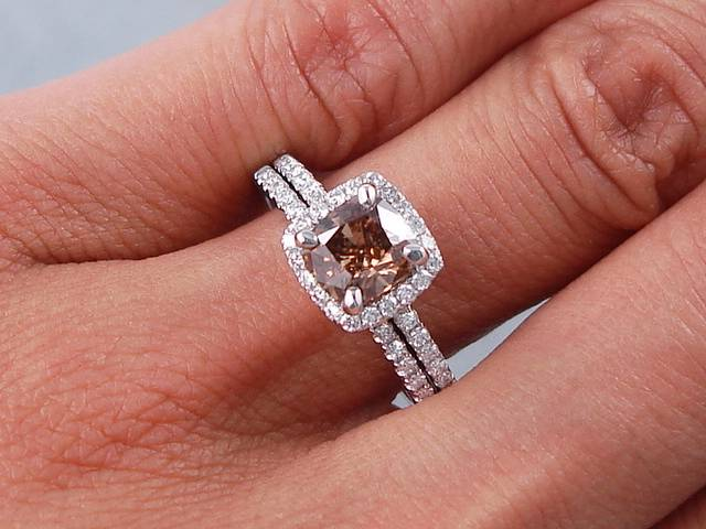 Cushion Cut Diamond Engagement Ring And Wedding Band Set