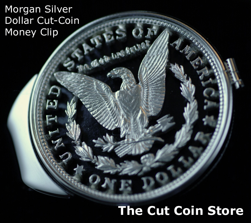 Morgan Money Clip Large Silver One Dollar Hand Cut Coin Ebay