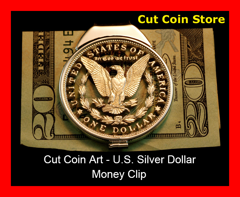 Morgan Money Clip 100 Year Old Large Us Eagle Silver One Dollar Hand Cut Coin Ebay
