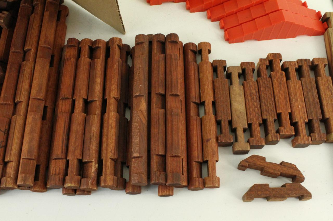 vintage 1950s wood wooden toy playskool original lincoln logs square logs picclick. Black Bedroom Furniture Sets. Home Design Ideas