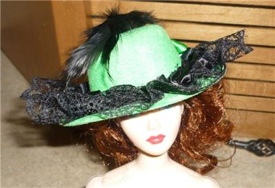 Red Hat w//Plume /& Clear Heart Stone Accent for Gene /& Friends Doll