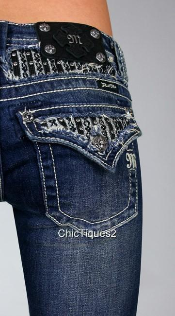 miss me jeans crystal black leather amp lace yoke denim