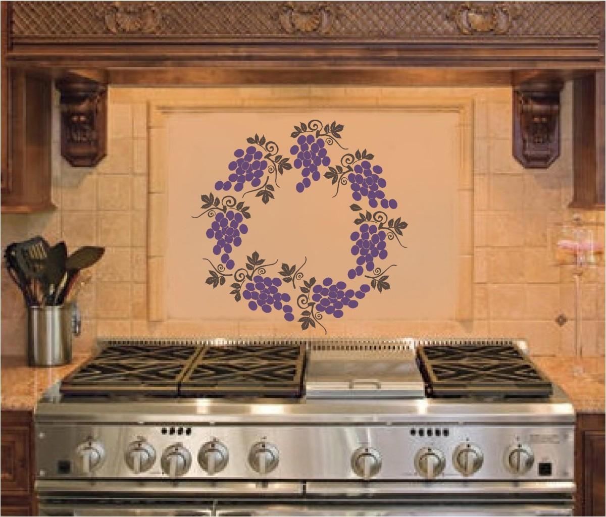 Grape Decor: Grape Wreath Kitchen Wall Stickers Vinyl Decal Decor