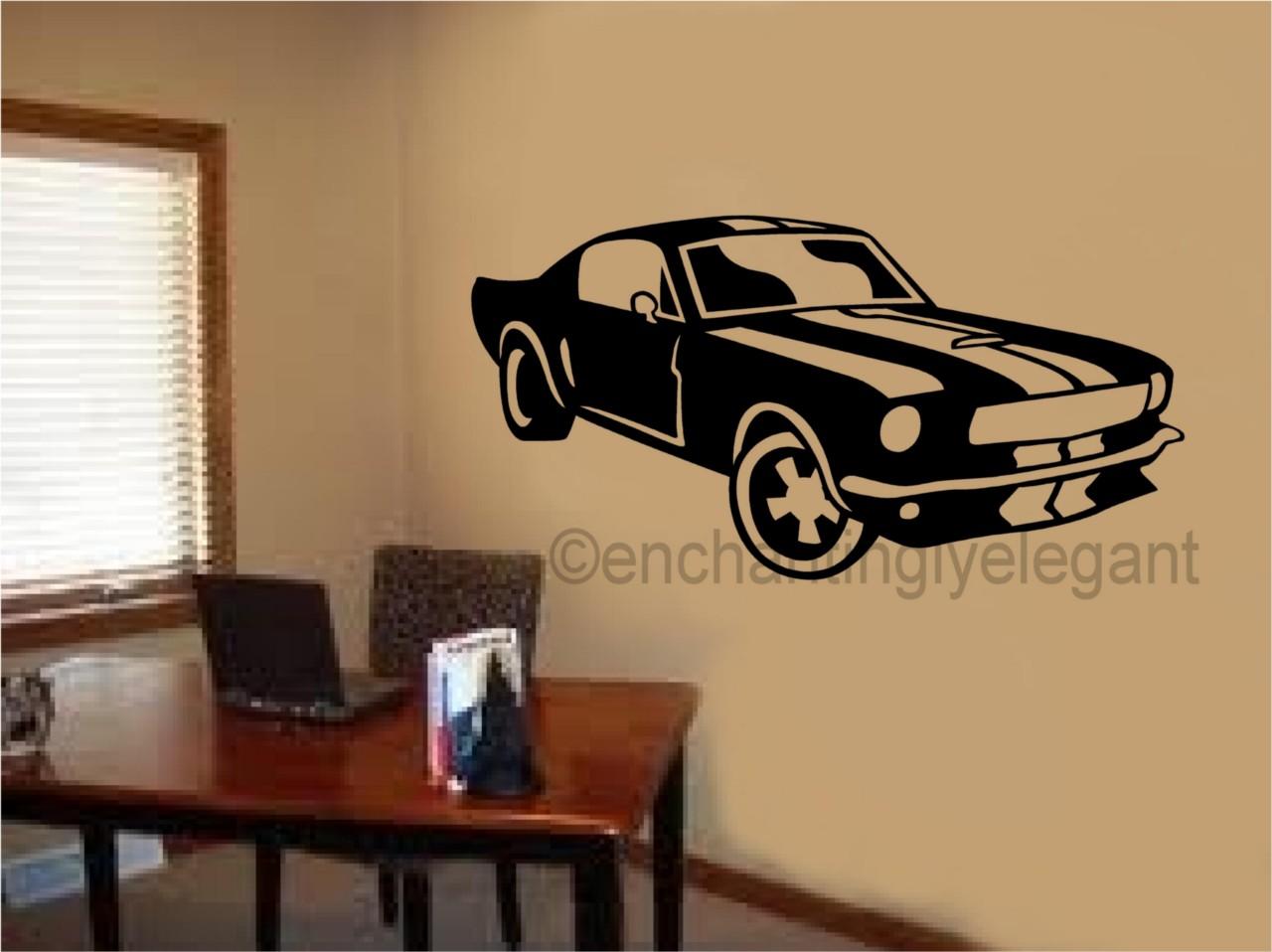 mustang shelby car vinyl decal wall sticker office shop teen boy room decor art ebay. Black Bedroom Furniture Sets. Home Design Ideas