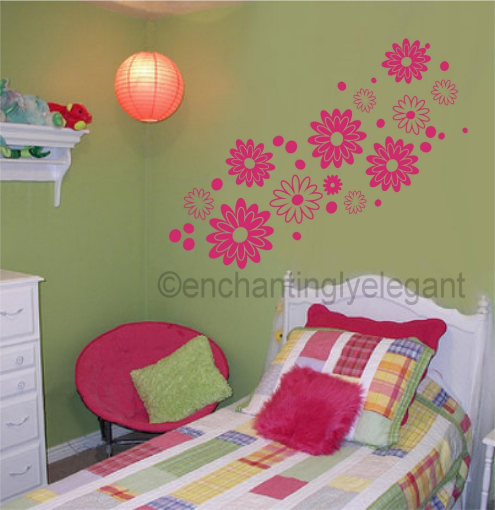 large flowers vinyl decal wall sticker teen girl room nursery baby decor art ebay. Black Bedroom Furniture Sets. Home Design Ideas