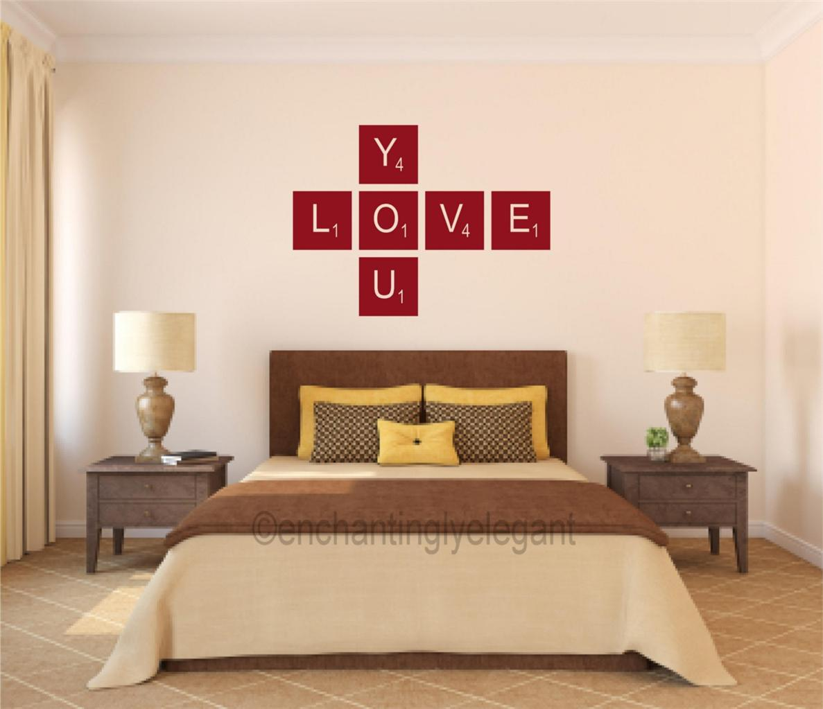 Love you scrabble tiles vinyl decal wall sticker words - Teen room wall decor ...