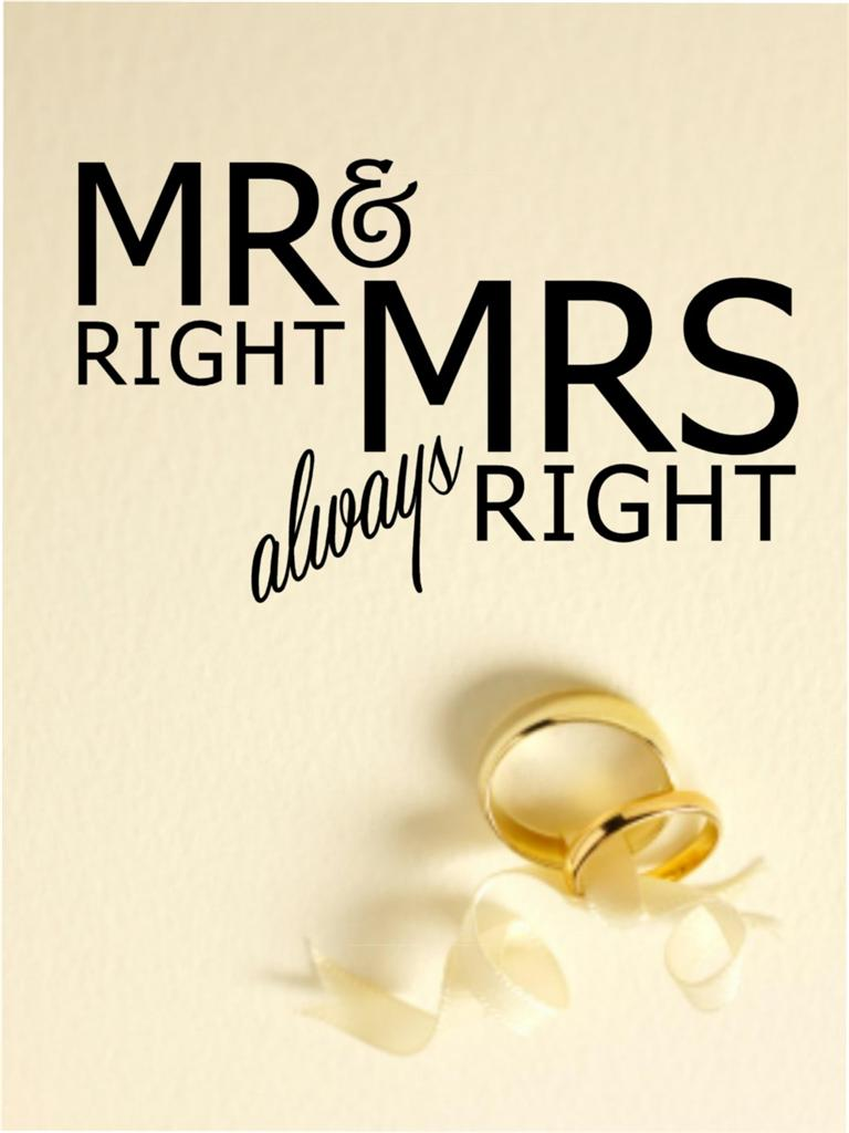 Mrs Always Right Collection Review: Mr Right Mrs Always Right Wedding Vinyl Decal Wall Sticker