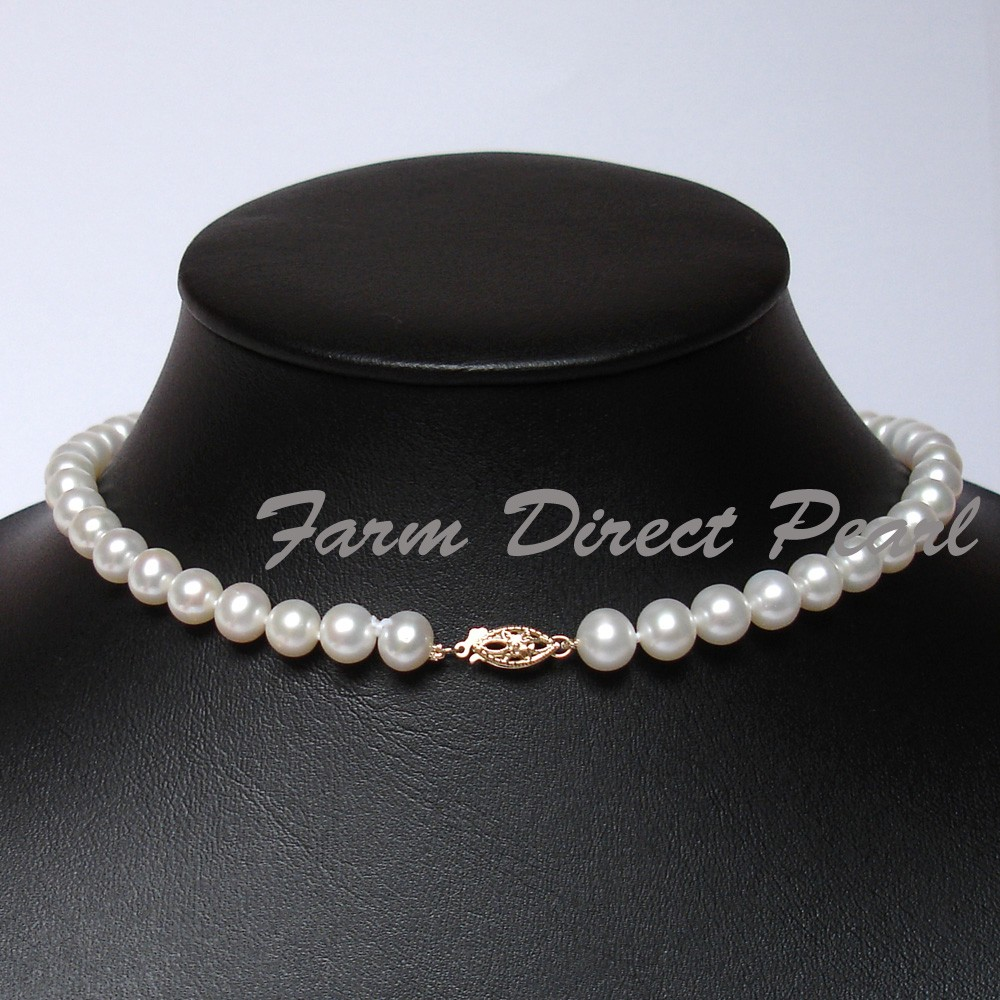 """Pearl Necklace Clasps: 18"""" Inch Genuine 8-9mm White Pearl Necklace 14K Gold Clasp"""