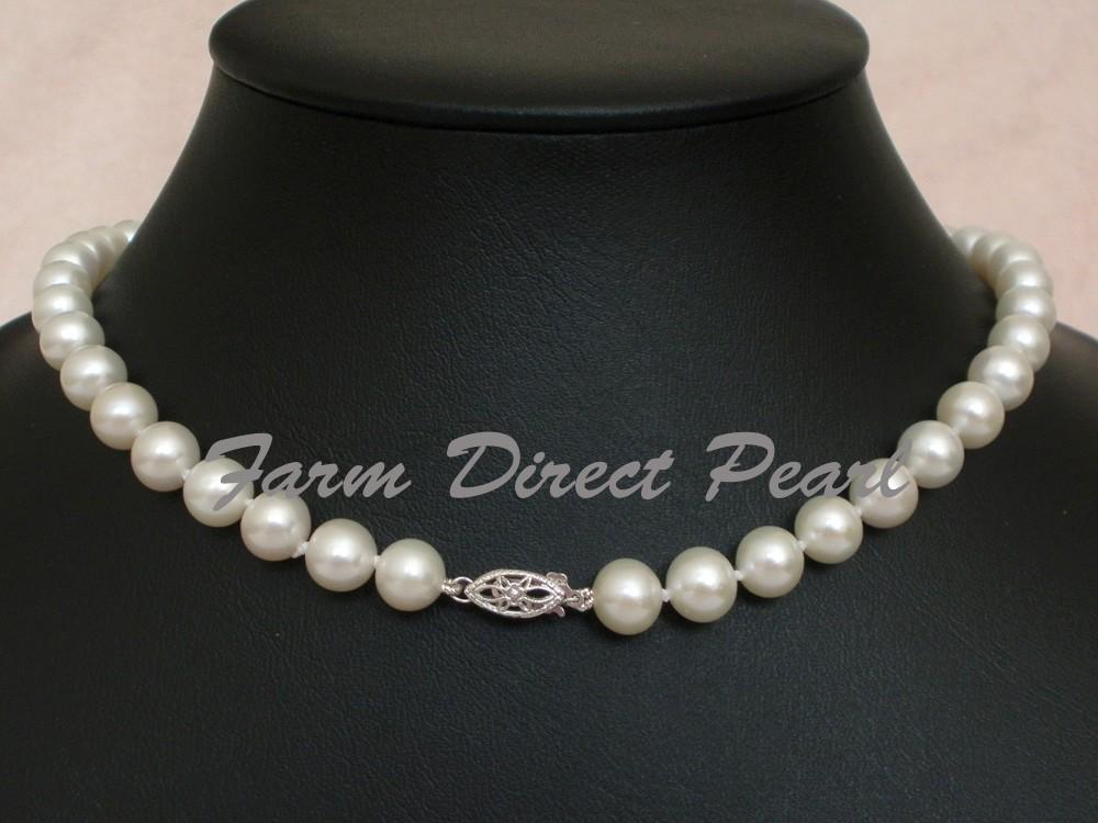 "Cultured Freshwater 8-9mm Genuine White Pearl Bracelet 14k White Gold 7.5/"" AAAA"