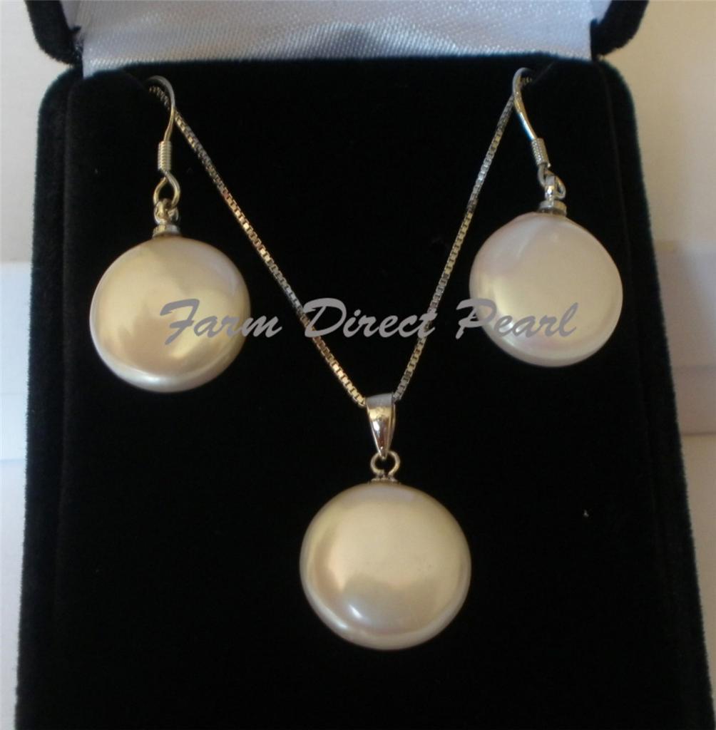 White Pearl Pendant Necklace: Genuine White Coin Pearl Pendant Necklace Earring SET