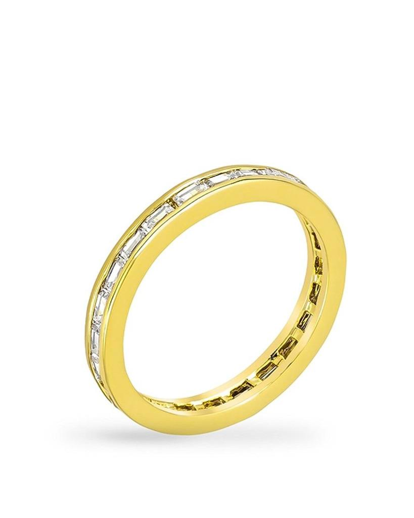 5.9 TCW Yellow Gold Trillion CZ Stackable Eternity Bridal Band Ring Sizes 5-10