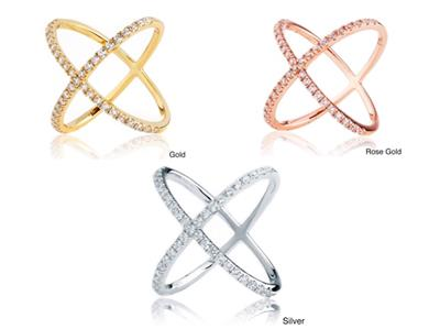 2.45 CW CZ Yellow Gold X Ring Minimalist Geometric Criss Cross Circle Size 5