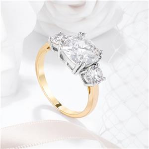 Jewelry & Watches Cz, Moissanite & Simulated 3.65 Tcw Yellow Gold Triple Stone Cushion Cut Cz Royal Wedding Bridal Ring 5 Cheap Sales