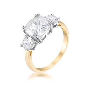 3.65 Tcw Yellow Gold Triple Stone Cushion Cut Cz Royal Wedding Bridal Ring 5 Cheap Sales Jewelry & Watches Engagement Rings