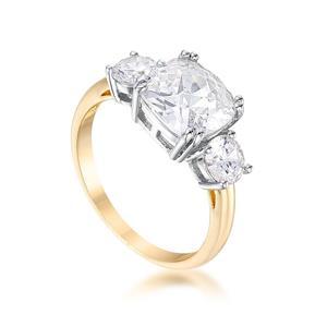 Jewelry & Watches 3.65 Tcw Yellow Gold Triple Stone Cushion Cut Cz Royal Wedding Bridal Ring 5 Cheap Sales