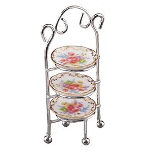 Dollhouse Dessert Serving Cart 1.755//0 Reutter Porcelain Filled Roseband Miniatu