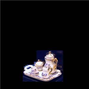 MINIATURE DOLLHOUSE 1:12 SCALE REUTTER BLUE ONION COFFEE SET ON TRAY 1.642//5