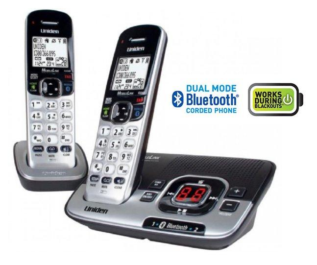 uniden dect 3136bt 1 twin bluetooth silver black cordless phone 2 rh pocketronics com au