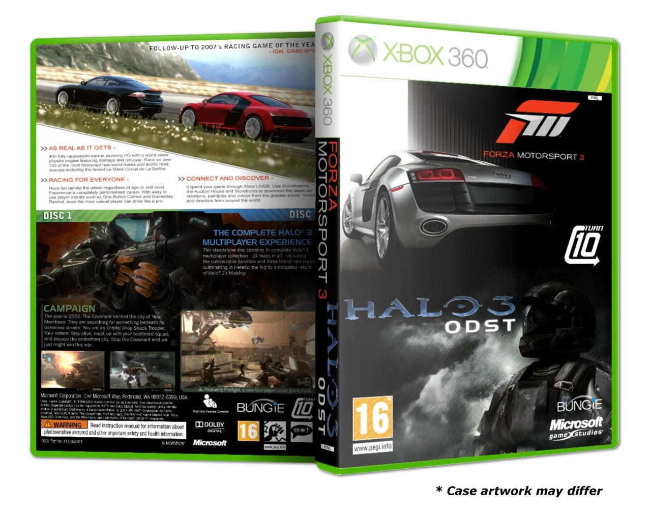 XBOX 360 Forza Motorsport 3 & Halo 3 ODST Bundle Pack 2