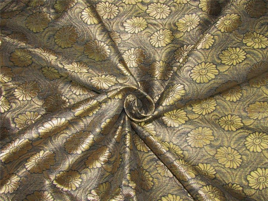 """BROCADE SATIN FABRIC BLACK SILVER  56/"""" WIDE BY THE YARD COSTUME CRAFTS DECOR"""
