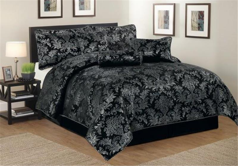 Brocade Fabric Black x Metallic Charcoal Grey 44""